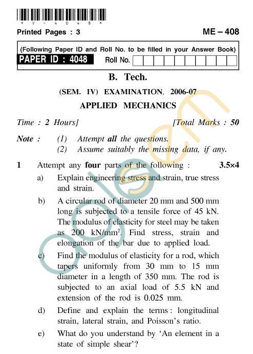 UPTU: B.Tech Question Papers - ME-408 - Applied Mechanics