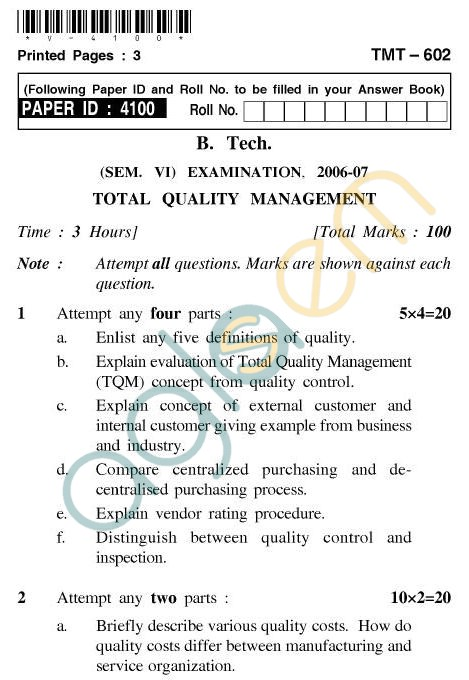 total quality management 5 essay Anca madar1 abstract: total quality management (tqm) has an important role  in any company, since  continental airlines, inc-continental airlines is the  world's fifth largest airline  to do this, an analysis of the cost of quality was  made.