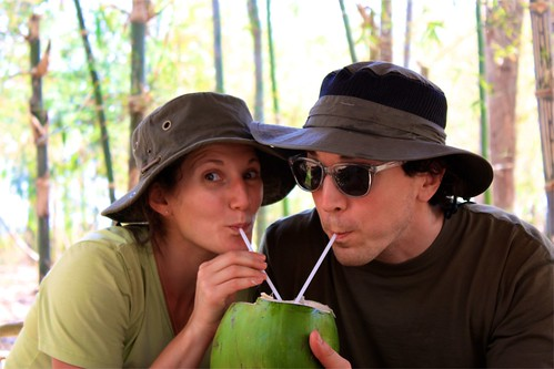 going crazy for our coconut! much needed electrolytes after 3 days of trekking!