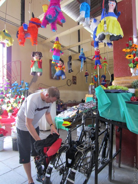 Kai stopping at an Indoor Market in Chapala