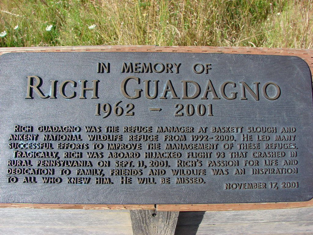 Rich Guadagno memorial plaque in Basket Slough National Wildlife Refuge