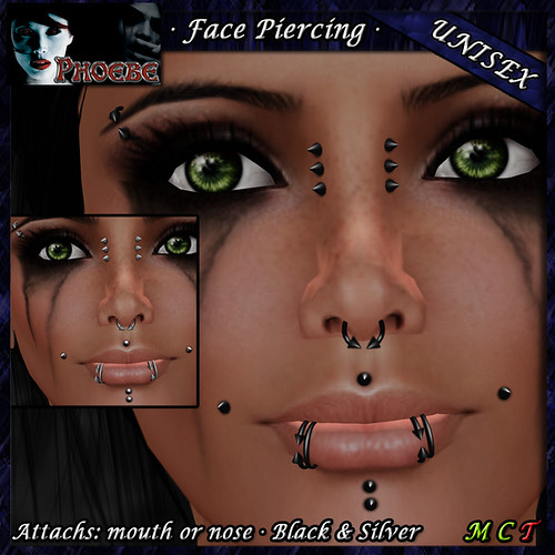 [PROMO] *P* Unisex Face Piercings ~Serie Q1~ Black & Silver