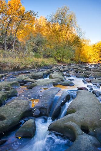 morning blue autumn yellow sunrise colorado unitedstates creeks rockformations waterscapes wheatridge clearcreek