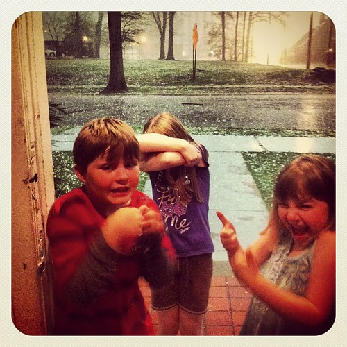 Travis, our King of Drama, has to get in on the photo opp. #justnow #hail #storm #extremeweather #lifeatwewillgo