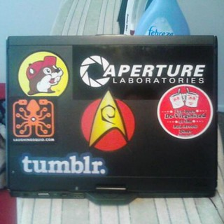 A shot of my trusty notebook and the #stickers on it, Buc-ee's, tumblr, laughing squid, Red Arrow Diner, Star Trek and Portal's Aperture Labs #tumblr #redarrowdiner #bucees #portal #laughingsquid #startrek