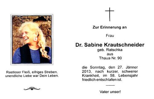 Dr. Sabine Krautschneider Todesanzeige