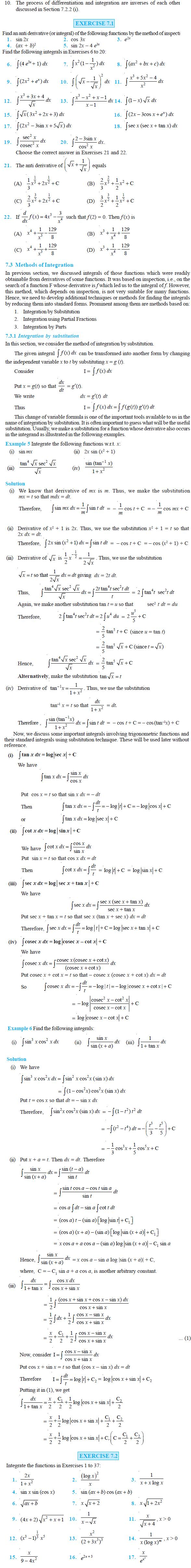 NCERT Class XII Maths Chapter 7 - Integrals