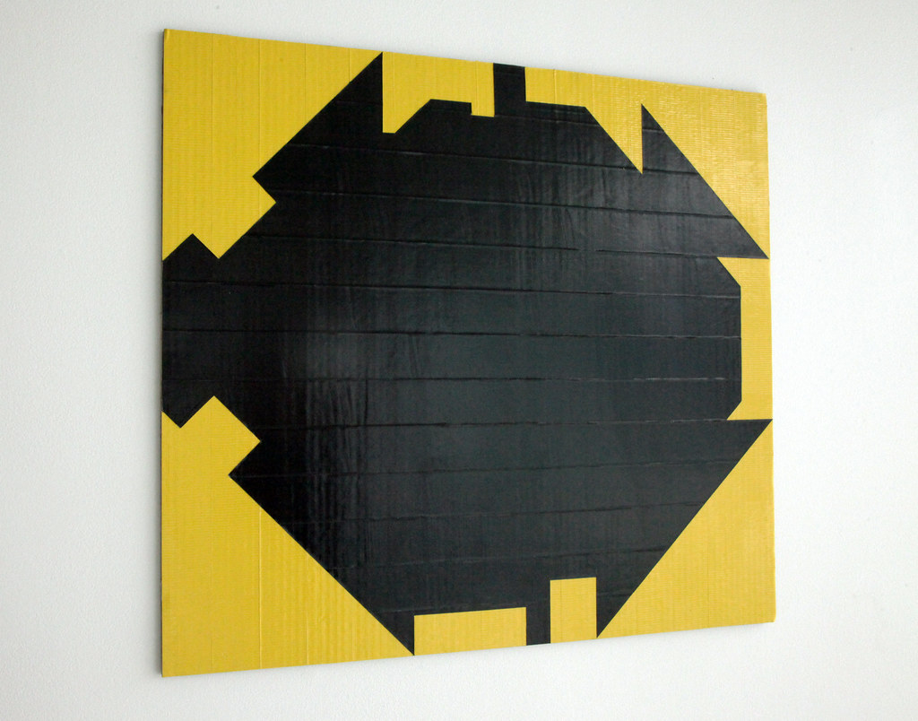 A 2D piece made of corrugated cardboard and duct tape.