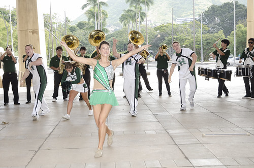 <p>A baton twirler, cheerleaders and musicians from the UH Band kicked off UH Day with a mini pep rally.</p>