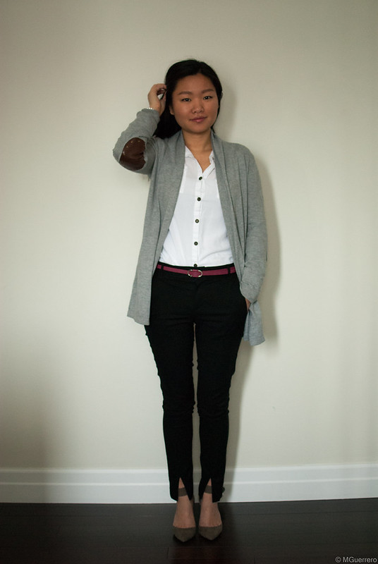 elbow patch cardigan white blouse