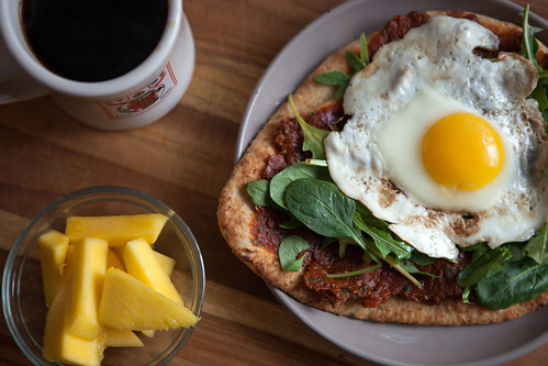 Naan w/Sun-Dried Tomato Paste, Greens, and a Fried Egg