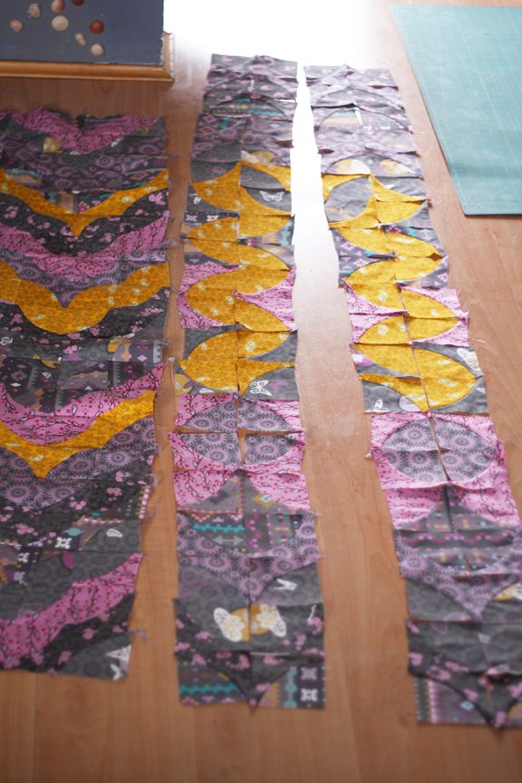 Assembling the quilt pieces