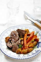 Slow cooked lamb with roasted carrots