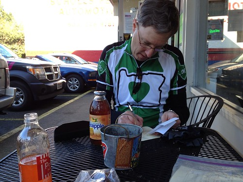 Kevin completes the post-ride paperwork