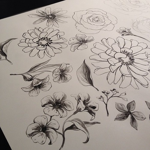 Making #watercolor flowers for some patterns. #sketch #art