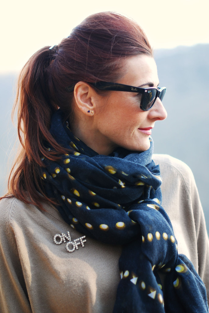 Oversized black patterned scarf