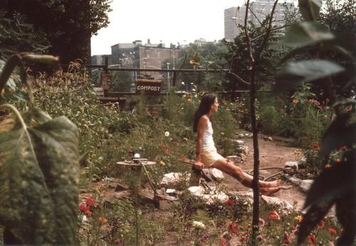 liz sunning in garden 1975