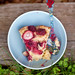 Pink peppercorn-kissed rhubarb and berry cake