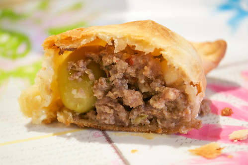beef empanada cut in half