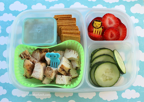 EasyLunchboxes Kindergarten safari lunch - grilled chicken, hummus, crackers, strawberries, cucumbers.