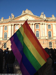 FR13 3575 French people celebrate the legalizing of Gay Marriage at le Capitole de Toulouse