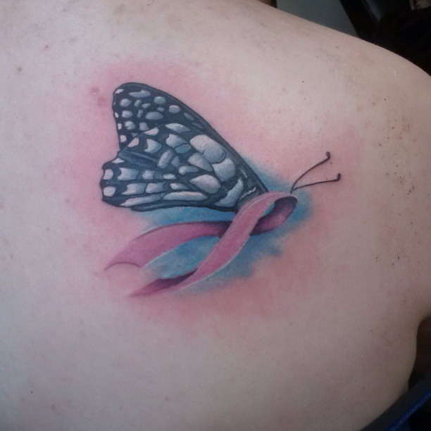 My take on a butterfly breast cancer awarness ribbon. #tattoo #butterfly #breastcancerawareness #pinkribbon #dynastytattoo_nj