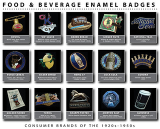 Vintage Food & Beverage Enamel Badges 1920s -1950s