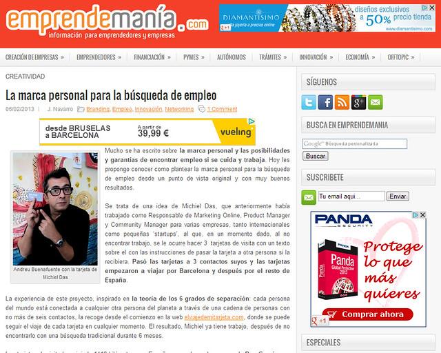 Artículo en la web - EmprendeManía (06.02.2013) - castellano