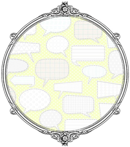 7 Patterned Conversation Bubbles (light margarita) - free printable digital patterned paper set SAMPLE - Copy