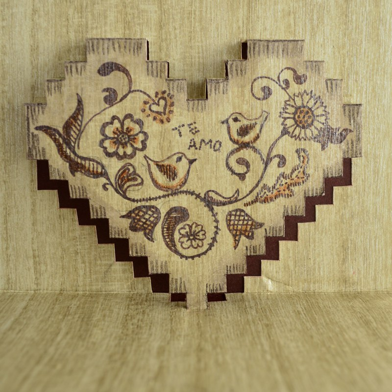 'woodburned' valentine card