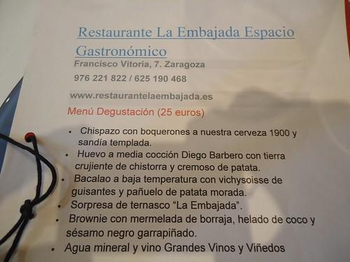 Zaragoza | La Embajada | Menú