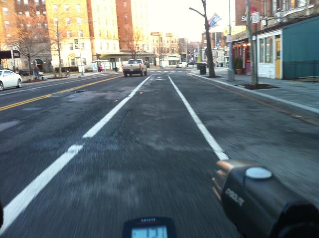 Riding the Columbia Road bike lane
