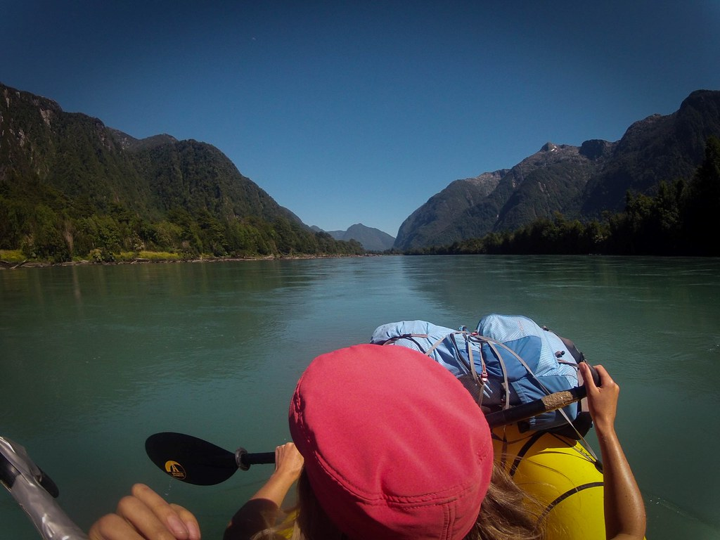 Packrafting Rio Yelcho from source to the Pacific. The river borders the Corcovado National Park. Chilean Patagonia.