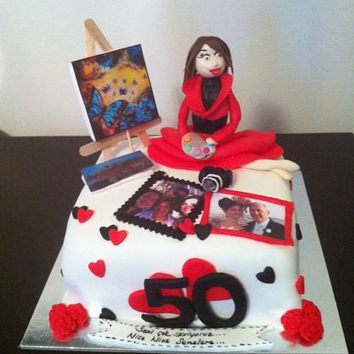 #50thbirthdaycake#art#sugarart#sugarpaste by l'atelier de ronitte