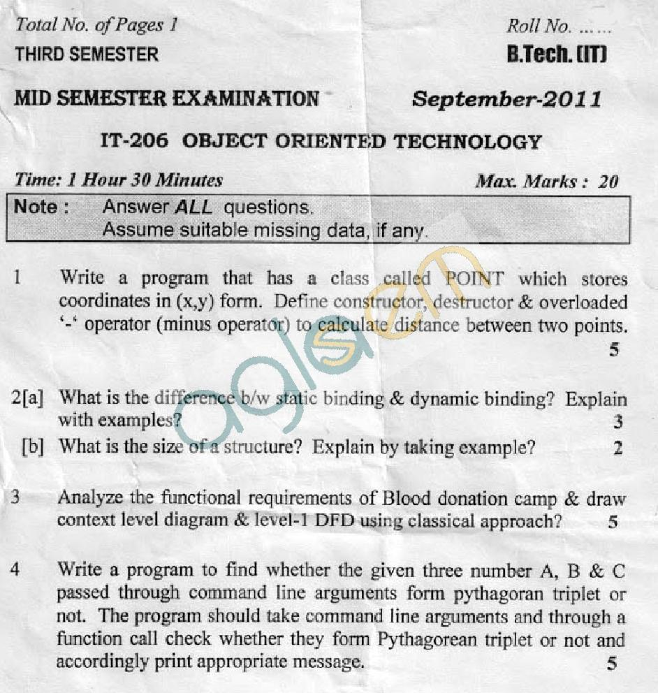 DTU Question Papers 2011 - 3 Semester - Mid Sem - IT-206