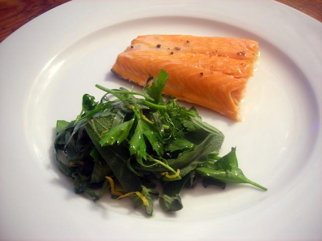Arctic char, herb salad