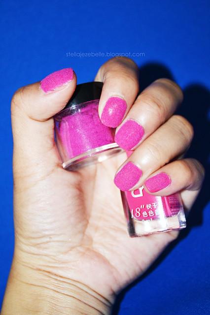 Hot Pink Fur Velvet Nail Art