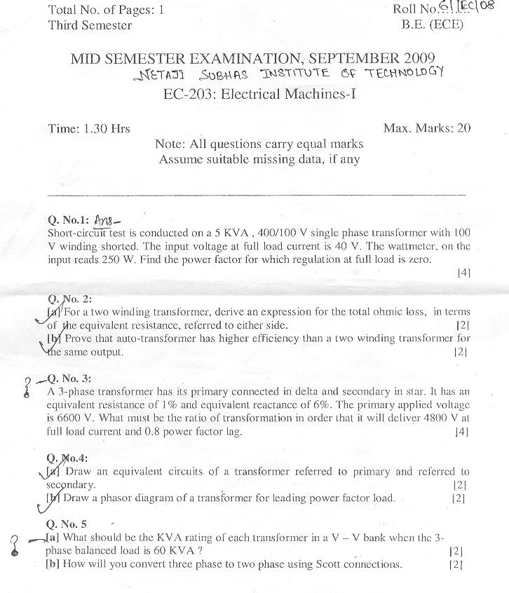 NSIT: Question Papers 2009 – 3 Semester - Mid Sem - EC-203
