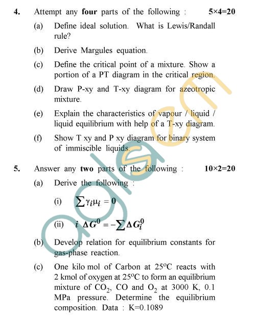 UPTU: B.Tech Question Papers - TCH-606 - Chemical Engineering Thermodynamics