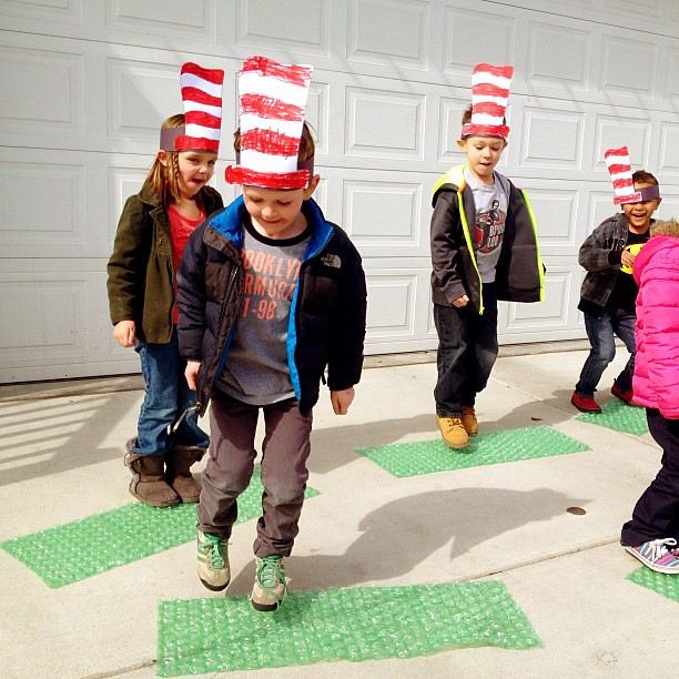 The neighbors thought we were doing fireworks. Nope, just hoppin' on pop. #drseussweek #seuss #hoponpop #brilliantbeginningspreschool #preschool #happybirthdayseuss @whitneyrferguson
