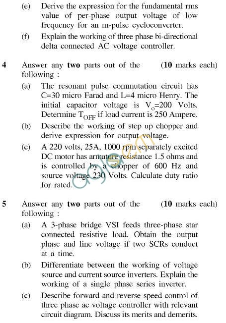 UPTU B.Tech Question Papers - EE-604-Power Electronics