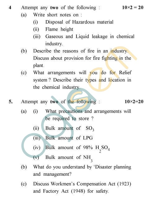 UPTU B.Tech Question Papers - CH-806 - Industrial Safety & Hazard Management