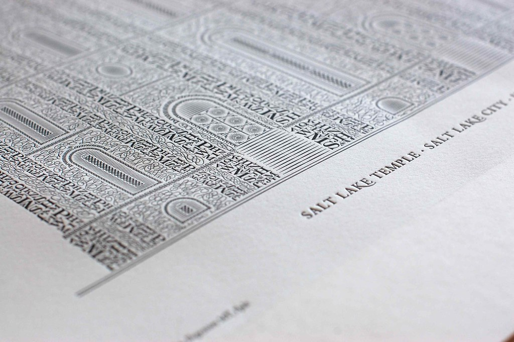 close up of letterpress temple by Cameron Moll