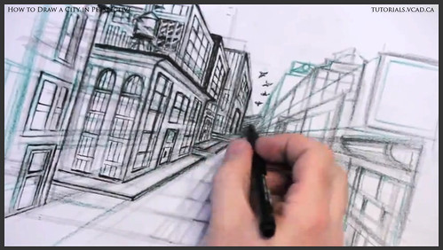 learn how to draw city buildings in perspective 030