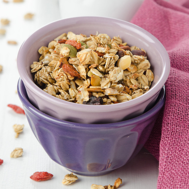 homemade granola with goji berries in a bowl