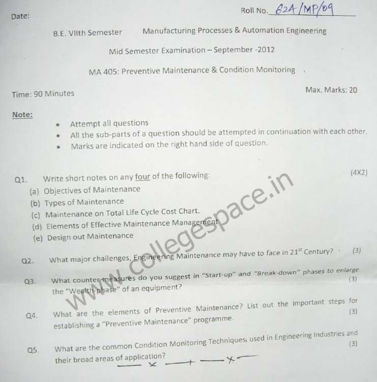 NSIT Question Papers 2012 – 7 Semester - Mid Sem - MA-405