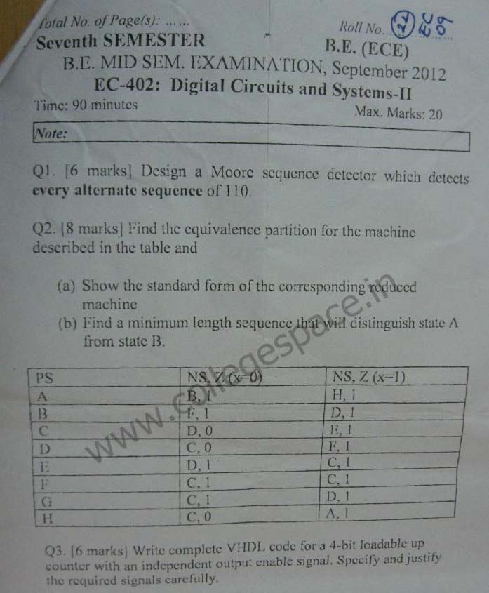NSIT Question Papers 2012 – 7 Semester - Mid Sem - EC-402