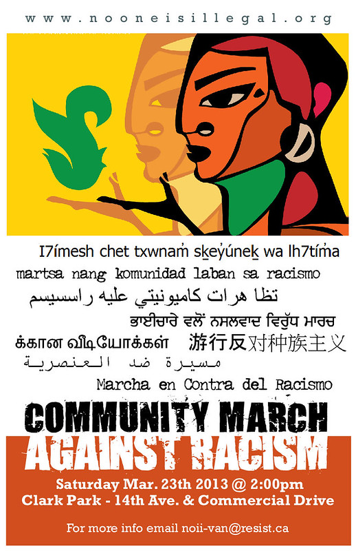 Poster for Annual Community March Against Racism. In Arabic, Chinese, Farsi Punjabi, Sḵwx̱wú7mesh, Spanish, Tagalog, Tamil.