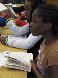 King Middle School students Joy (rear) and Mercia (foreground).