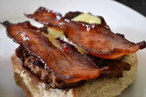 maple glazed bacon with beef burger